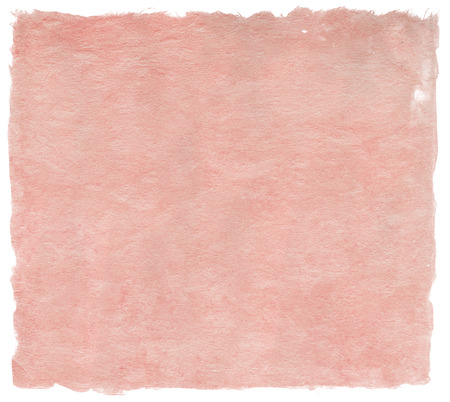Japanese handmade paper texture in delicate pale red color, isolated on white Archivio Fotografico