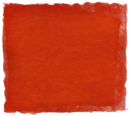 白で隔離、鮮やかな赤い色の和紙テクスチャ