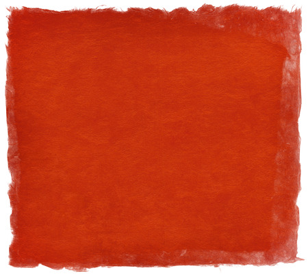 Japanese handmade paper texture in bright red color, isolated on white
