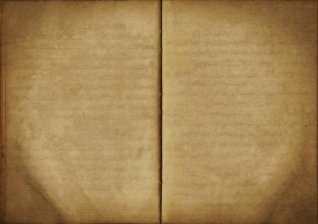 古いオープン空ノート、使用される紙の質感からビンテージ背景 写真素材