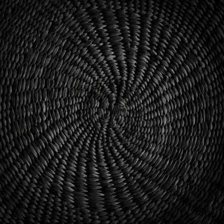 黒グランジ円形籐パターン テクスチャから抽象的な背景 写真素材