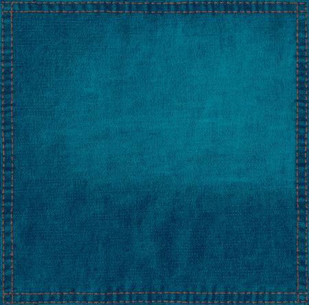 ブルーのリネン生地からグランジ背景こんにちはステッチ フレーム解像度テクスチャ
