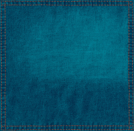 Blue grunge background from linen fabric hi res texture with stitched frame Standard-Bild