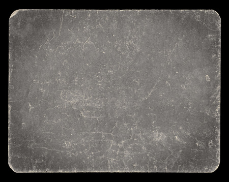 Vintage banner or background in silver colour, isolated on black with clipping path, rich grunge texture, antique paper mounted onto cardboard, suitable for Photoshop blending purposes, hi res.