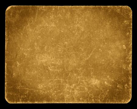 ビンテージ バナーまたはクリッピング パス、豊富なグランジ テクスチャ、アンティークの紙と黒に分離された、黄金色の背景は、段ボール、Photosho 写真素材