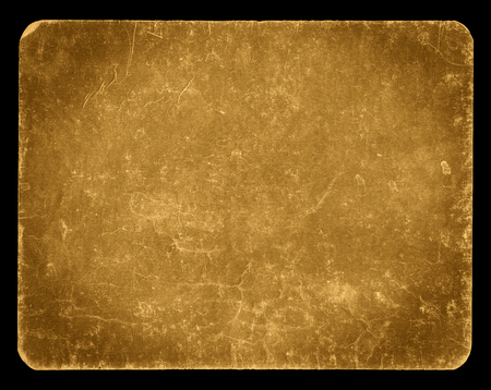 Vintage banner or background in golden colour, isolated on black with clipping path, rich grunge texture, antique paper mounted onto cardboard, suitable for Photoshop blending purposes, hi res.