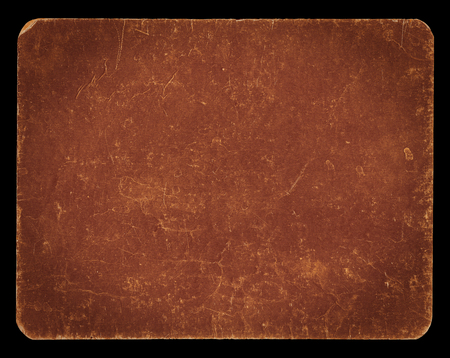 Vintage banner or background in elegant brown colour isolated on black with clipping path, rich grunge texture, antique paper mounted onto cardboard, suitable for Photoshop blending purposes, hi res.