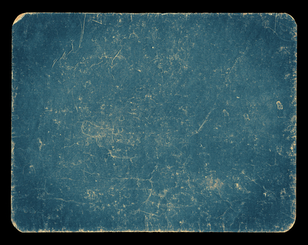Vintage banner or background in pastel blue colour, isolated on black with clipping path, rich grunge texture, antique paper mounted onto cardboard, suitable for Photoshop blending purposes, hi res. Archivio Fotografico