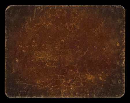 Vintage banner or background in dark brown colour, isolated on black with clipping path, rich grunge texture, antique paper mounted onto cardboard, suitable for Photoshop blending purposes, hi res. Archivio Fotografico