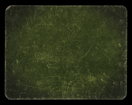 Vintage banner or background in dark green colour, isolated on black with clipping path, rich grunge texture, antique paper mounted onto cardboard, suitable for Photoshop blending purposes, hi res. Archivio Fotografico