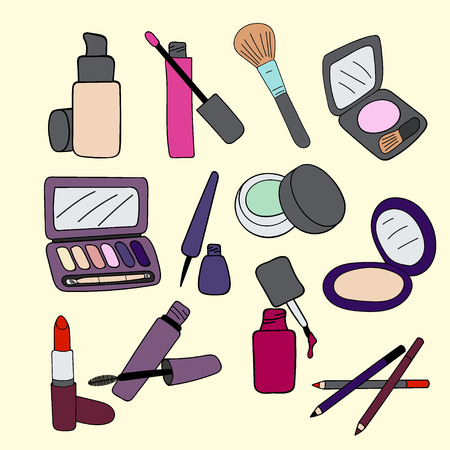 cosmetics products: Set of makeup cosmetics products