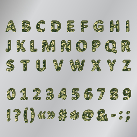 numbers clipart: Military khaki 3d font Illustration