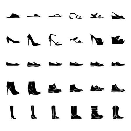botas: Conjunto de los iconos de los zapatos de las mujeres y los hombres, la silueta negro