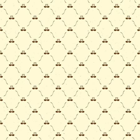 swans: Romantic seamless pattern with swans, retro style background, brown, yellow Illustration