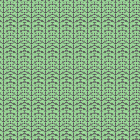 purl: Green knitted seamless pattern, rib, knit one, purl one Illustration