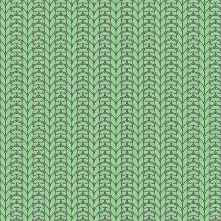 rib: Green knitted seamless pattern, rib, knit one, purl one Illustration