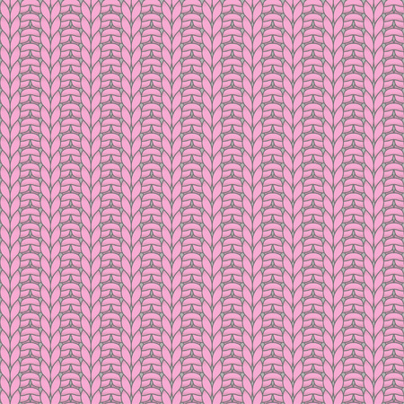 purl: Pink knitted seamless pattern, rib, knit one, purl one Illustration