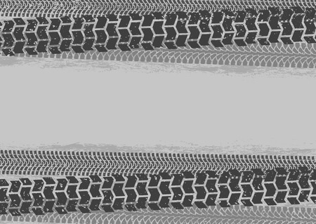 treads: Tire tracks background in grunge style, gray colors Illustration