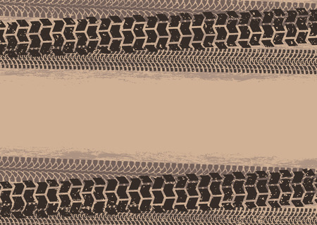 tyre tread: Tire tracks background in grunge style, brown colors Illustration