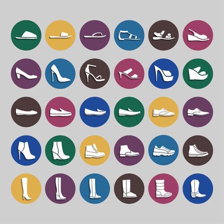 Icone Shoes. Icone uomini e donne scarpe moda. Bianco sul cerchio colorato con ombra Archivio Fotografico - 54006185