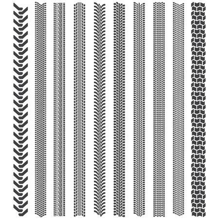 huellas de neumaticos: El neum�tico sigue patrones. Un conjunto de la banda de rodadura del neum�tico detallada Vectores