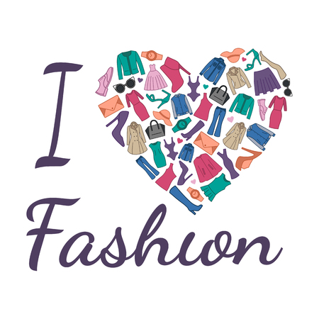 I love fashion illustration. Heart is composed of fashionable clothes, shoes and accessories Imagens - 57048507