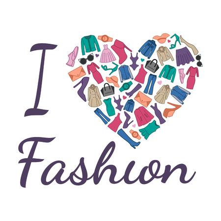 Ik hou van mode-illustratie. Hart bestaat uit modieuze kleding, schoenen en accessoires