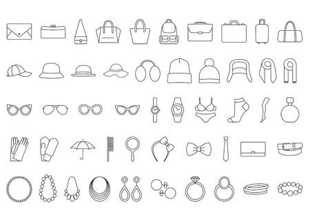 Accessoires pictogrammen. Line pictogrammen tassen, hoeden, sieraden, brillen