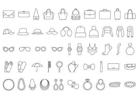 panama hat: Accessories icons. Line icons  bags, hats, jewelry, glasses