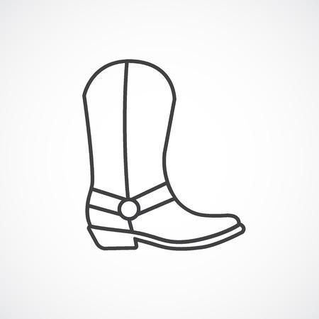 icono de la bota de vaquero. icono de la línea.
