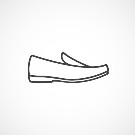 loafer: Mens shoes, moccasin, loafer. line icon.