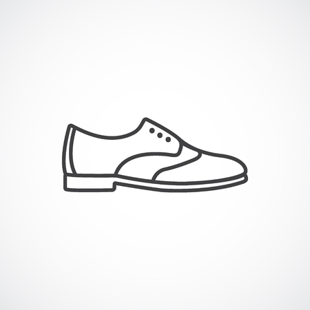 brogues: Womens brogues shoes. Vector line icon isolated on white background Illustration