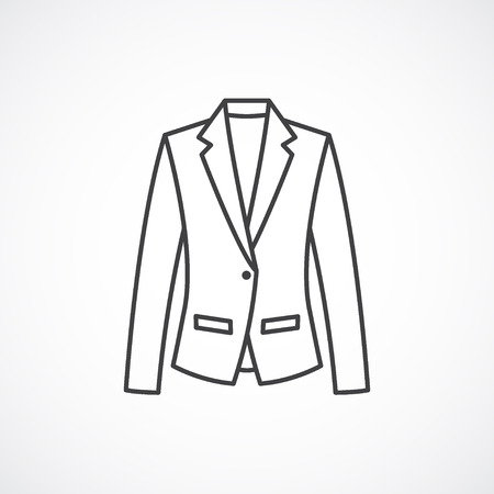 blazer: Womens classic blazer icon. Vector line fashion clothes icon isolated on white background Illustration
