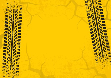 tyre tread: Tire tracks background with cracked and grunge effect. Black marks on yellow background. Vector illustration