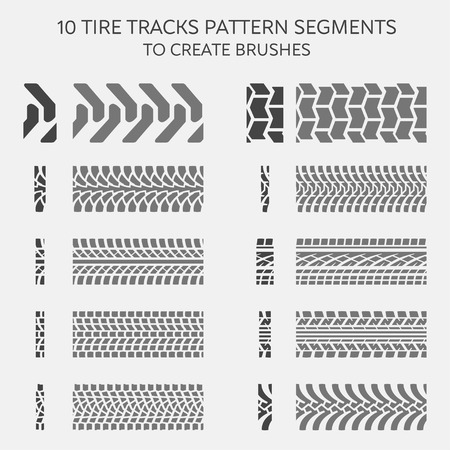 tyre tread: Tire tracks pattern segments to create brushes, vector