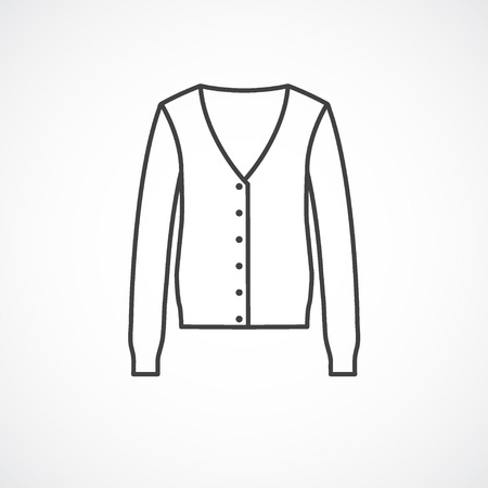 cardigan: Cardigan icon. Vector line icon isolated on white background
