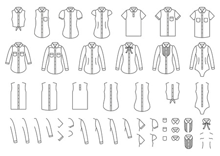Vector set of female and male shirts, elements for combining