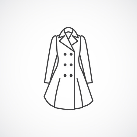 white coat: Womens trench coat icon. Vector line fashion clothes icon isolated on white background