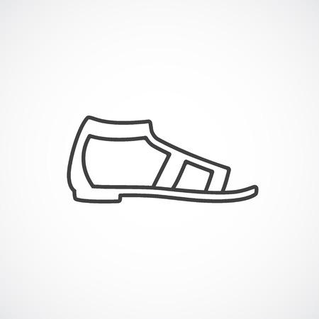 sandals isolated: Flat sandal vector minimal isolated line icon. Illustration