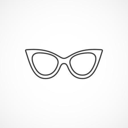 cat eye: Sunglasses cat eye vector minimal isolated line icon.