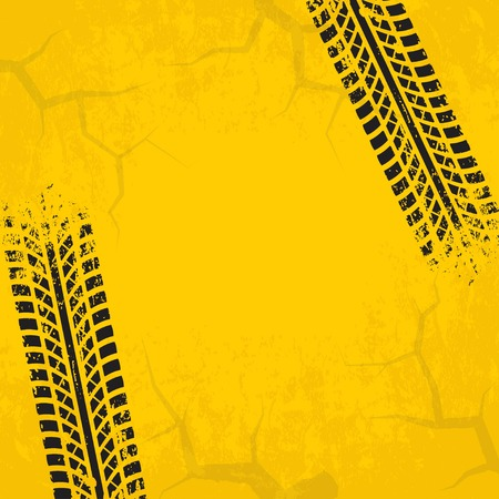 huellas de neumaticos: Tire tracks background with cracked and grunge effect. Black marks on yellow background. Vector illustration