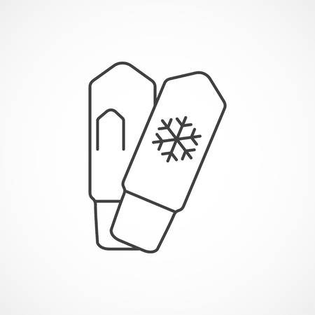 mittens: Mittens with snowflake minimal line icon