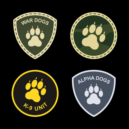 k9: Set of military, police patches dog paw