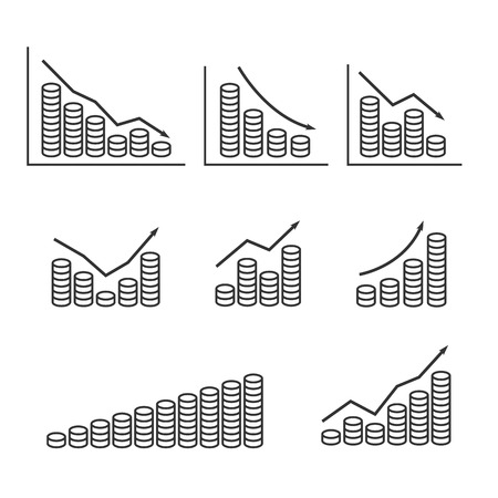 regress: Set graphs and stack of coins. Vector illustration