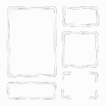 garabatos: Establecer marcos dibujados a mano. cuadro de texto, marcos y esquinas. ilustraci�n vectorial