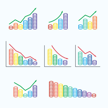 regress: Set graphs and stack of colored coins stack. Vector illustration