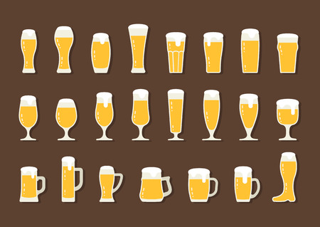 beer stein: Vector flat icon beer with foam in beer mugs and glasses Illustration