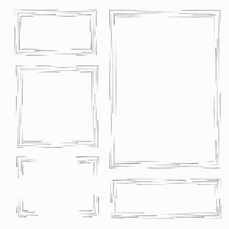 garabatos: Establecer marcos dibujados a mano. cuadro de texto, marcos y esquinas. ilustración vectorial