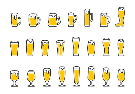 beer tulip: Vector set icons of beer with foam in mugs and glasses Illustration