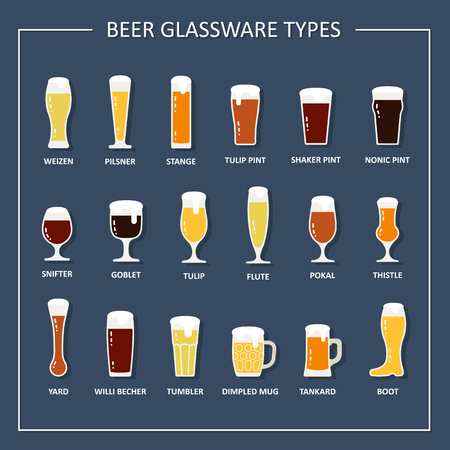 types of glasses: Beer glassware types guide. Beer glasses and mugs with names. Vector illustration in flat style.